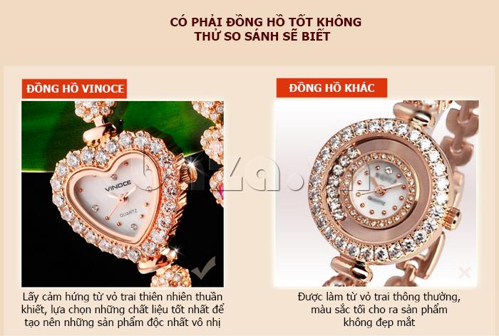 Đồng hồ nữ mặt trái tim Vinoce V633248G  nhiều đặc tính nổi bật