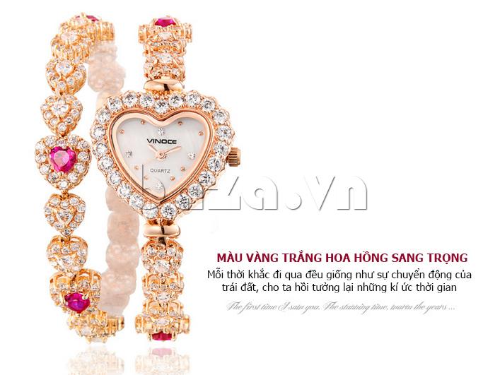 Đồng hồ nữ mặt trái tim Vinoce V633248G đá pha lê sáng bóng