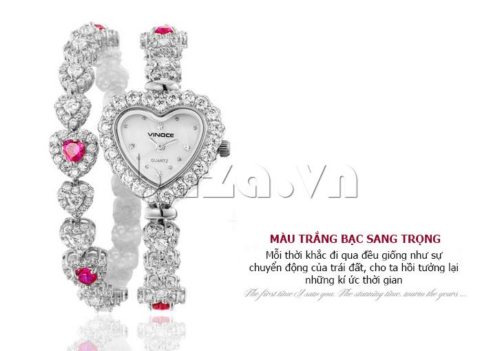 Đồng hồ nữ mặt trái tim Vinoce V633248G vẻ đẹp tinh tế