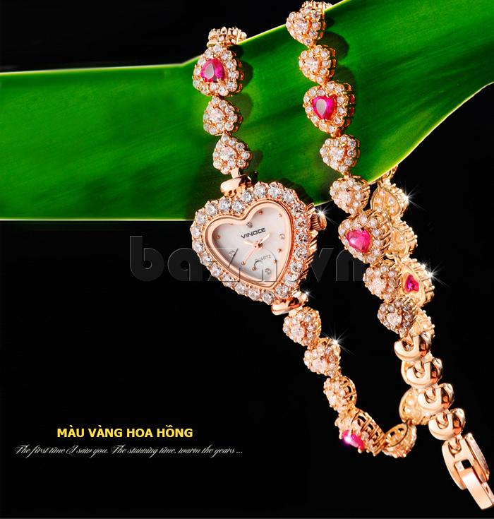Đồng hồ nữ mặt trái tim Vinoce V633248G  sang trọng quý phái
