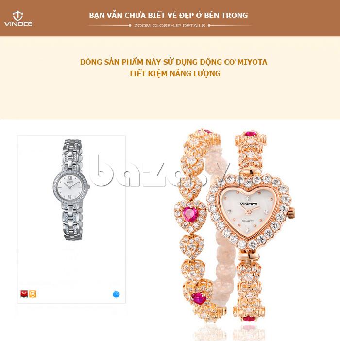 Đồng hồ nữ mặt trái tim Vinoce V633248G ẩn chứa vẻ đẹp