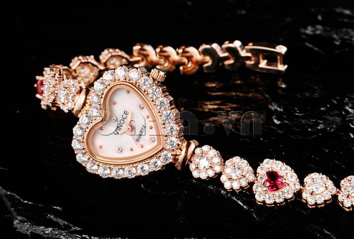 Đồng hồ nữ mặt trái tim Vinoce V633248G mới