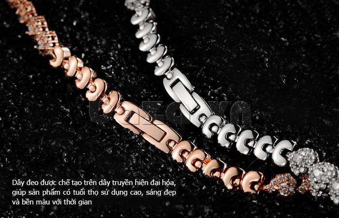 Đồng hồ nữ mặt trái tim Vinoce V633248G dây đeo dạng lắc tay