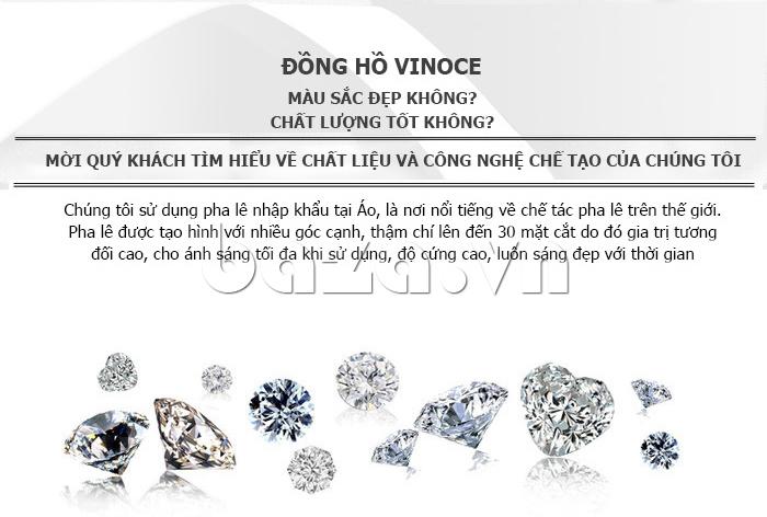 Đồng hồ nữ mặt trái tim Vinoce V633248G chất liệu cao cấp