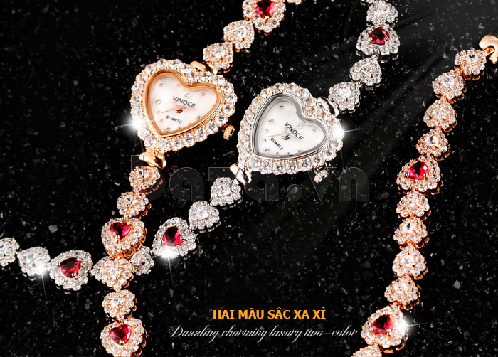 Đồng hồ nữ mặt trái tim Vinoce V633248G màu sắc xa xỉ