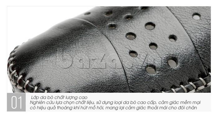 Giày lười nam da thật đục lỗ Olunpo XHT1502 - da bò chất lượng cao