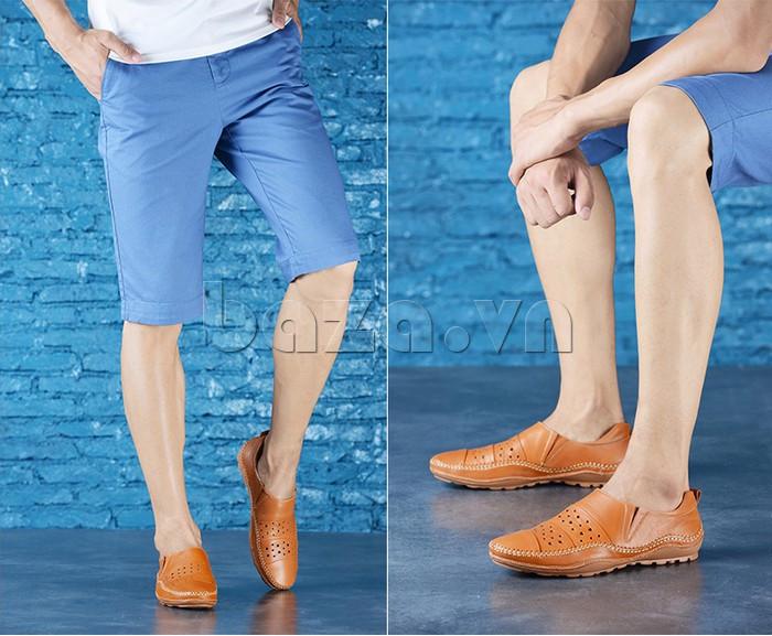 Giày lười nam da thật đục lỗ Olunpo XHT1502 - kiểu dáng sành điệu