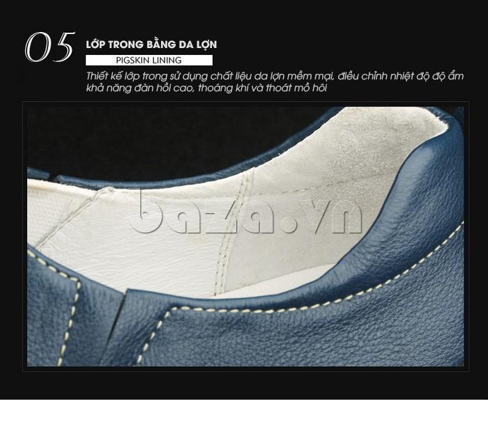 Giày lười nam da thật đục lỗ Olunpo XHT1502 - lớp lót thoáng khí