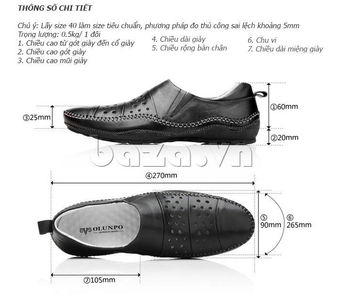 Kích thước chuẩn của Giày lười nam da thật đục lỗ Olunpo XHT1502