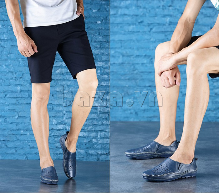Giày lười nam da thật đục lỗ Olunpo XHT1502 - công nghệ hiện đại