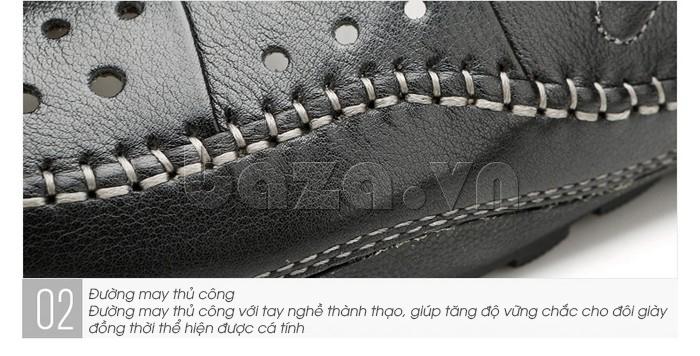 Giày lười nam da thật đục lỗ Olunpo XHT1502 - đường may thủ công chắc bền