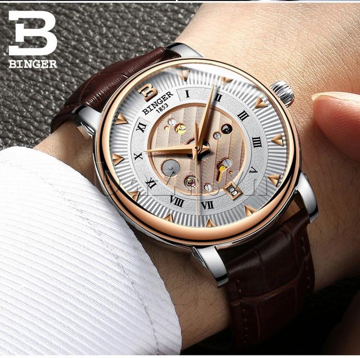Đồng hồ cơ nam vân sóng số La Mã Binger