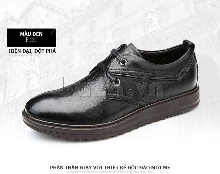Giày da nam Olunpo QZK1404 màu đen hiện đại quyến rũ