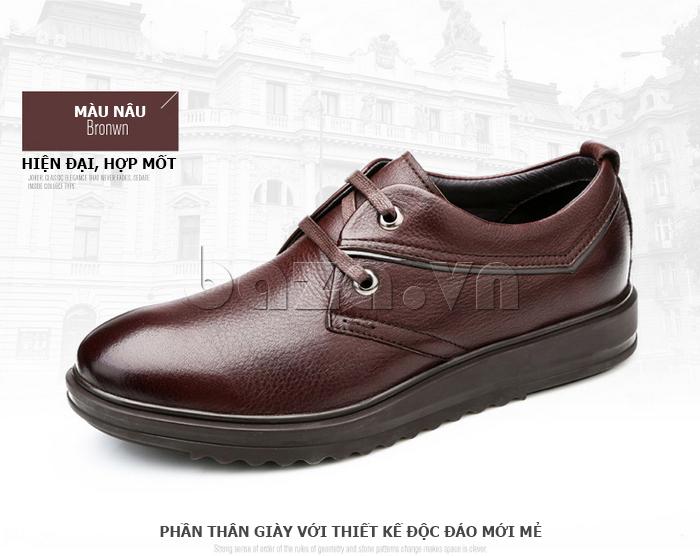 Giày da nam Olunpo QZK1404 màu nâu hiện đại