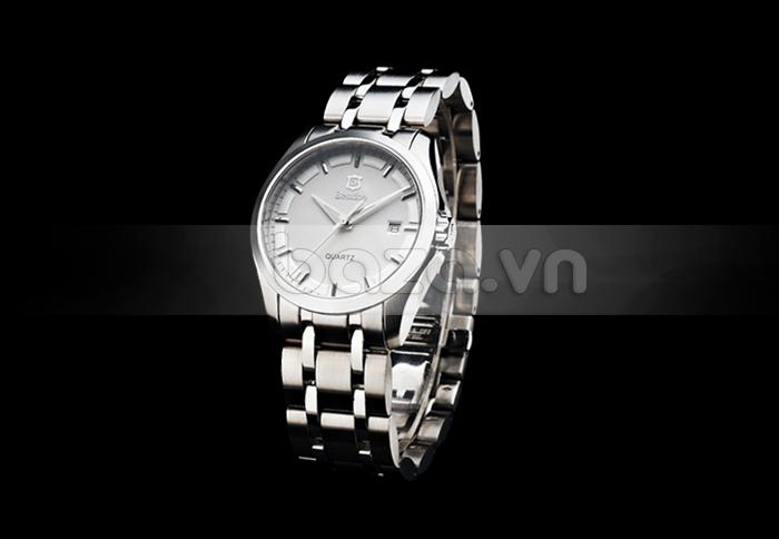 Baza.vn: Đồng hồ nam Bestdon BD9945G mặt trắng dây bạc