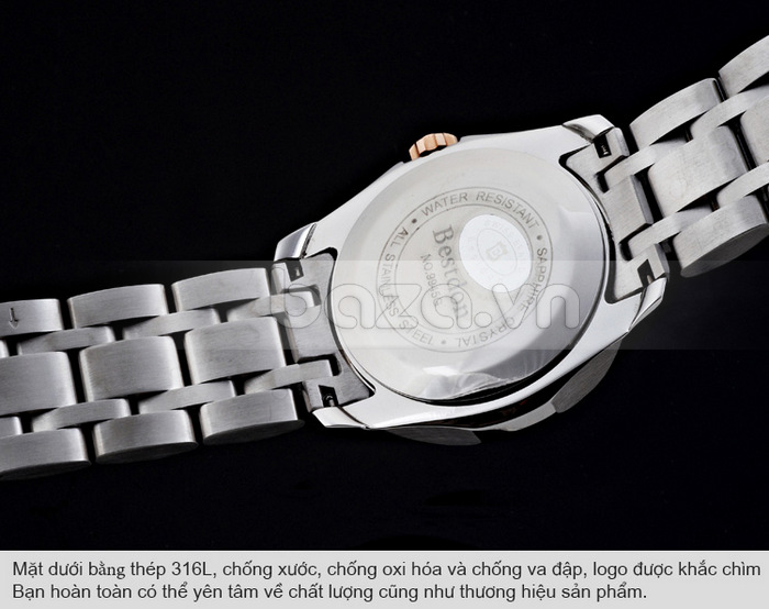 Mặt dưới đồng hồ bằng thép 316L không gỉ, chống xước và chống oxi hóa