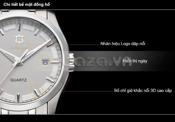 Đồng hồ nam công sở Bestdon với số chỉ giờ khắc nổi 3D