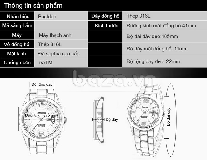 Thông tin chi tiết sản phẩm Đồng hồ nam công sở Bestdon