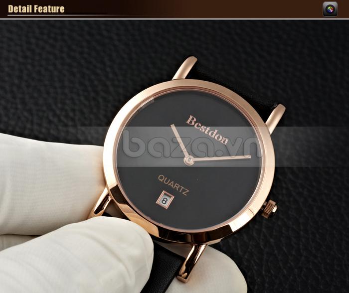 Đồng hồ nam siêu mỏng Bestdon BD9951AG với ô xem lịch ở trên mốc 6 giờ