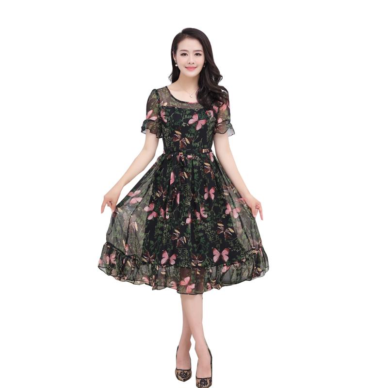 Váy voan xòe nhún bèo họa tiết hoa bướm SMT