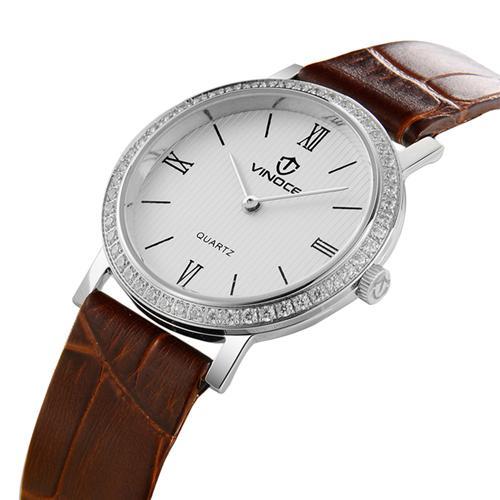 Đồng hồ nữ siêu mỏng đính đá Vinoce V8350TW số la mã