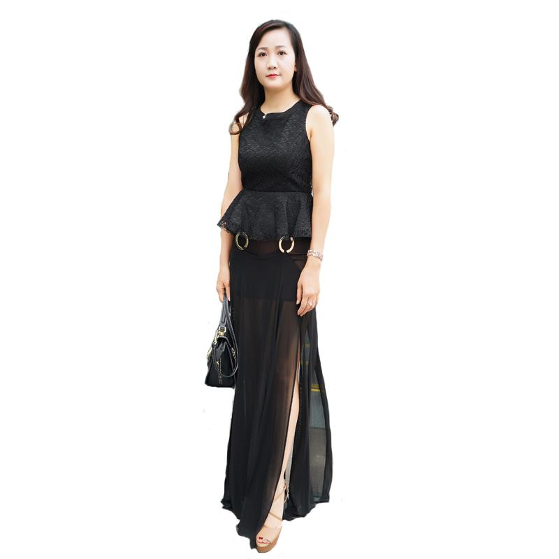 Set áo ren nổi phối váy lưới xẻ vạt Sexy Lace