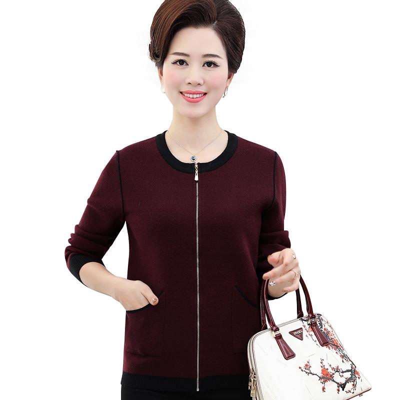 Áo khoác len nữ trung niên dài tay SMT cổ tròn phối màu