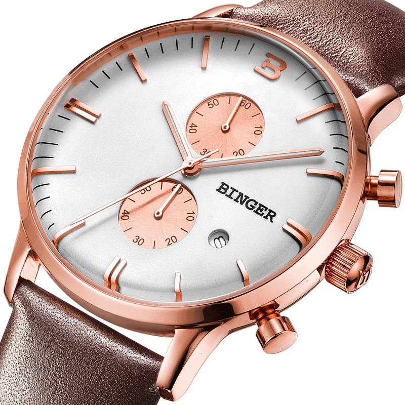 Đồng hồ nam Chronograph 5 kim dạ quang Binger