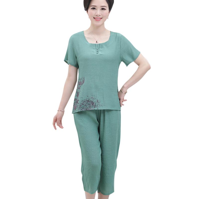Bộ lửng nữ trung niên SMT gấu in hoa (gồm áo cộc tay + quần lửng)