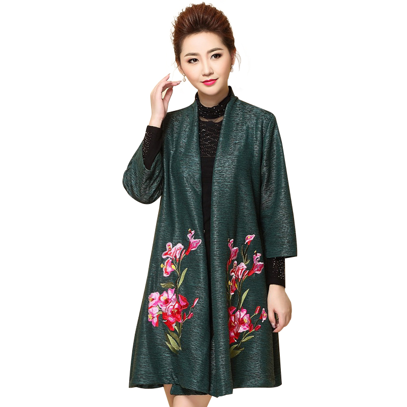 Áo choàng nữ dáng dài thêu hoa đỗ quyên QIZ