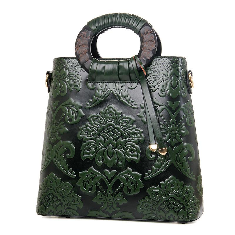 Túi Handbag nữ in hoa phù dung 3D Nobely