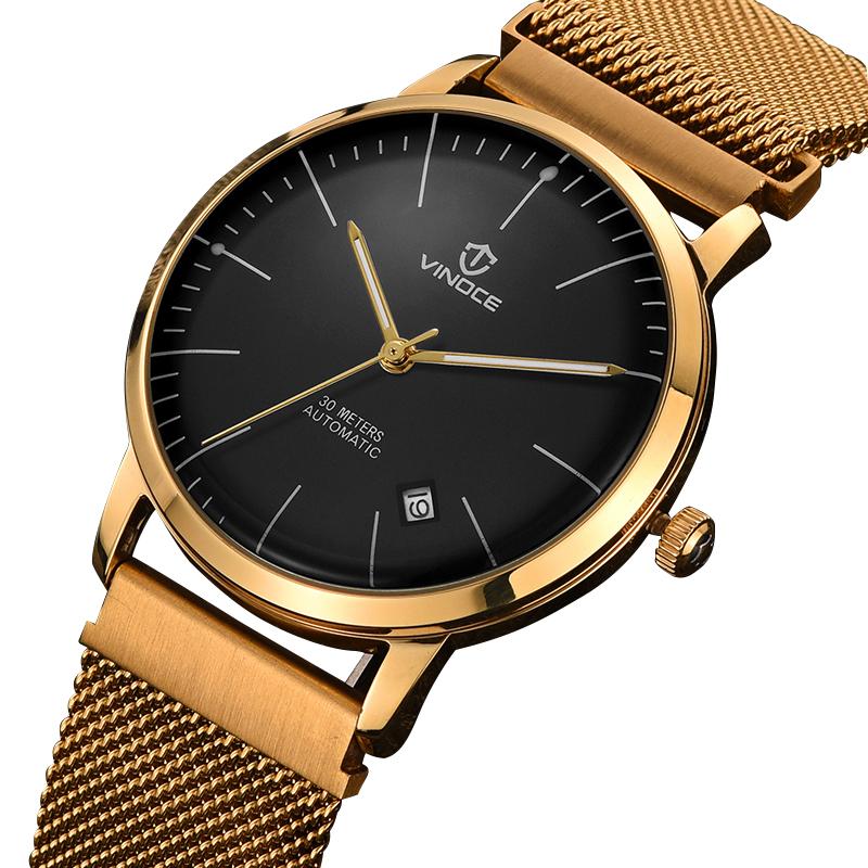Đồng hồ cơ nam kim dạ quang Vinoce