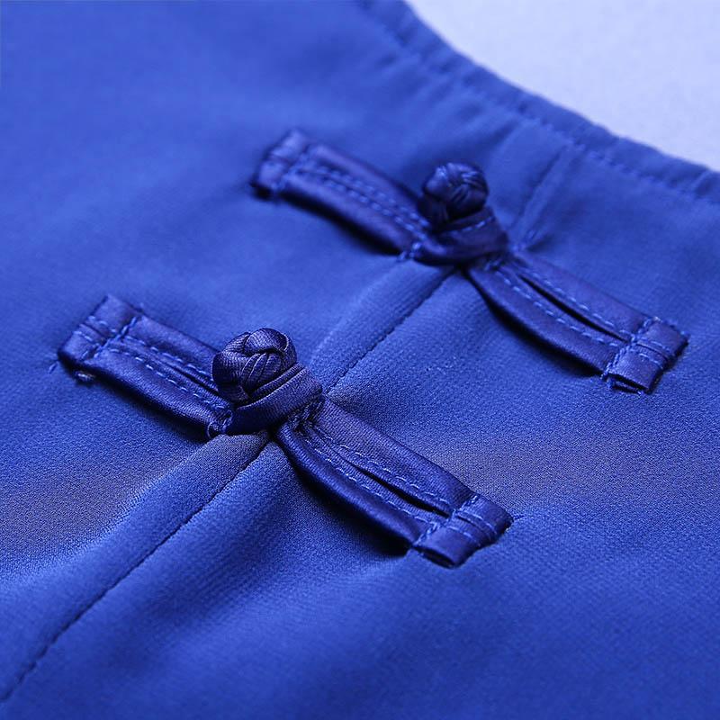 Đầm ngắn tay in hoa cát tường vạt xẻ cách tân SMT