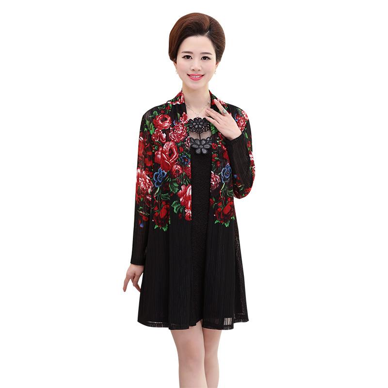 Đầm ôm cổ thêu ren hoa kèm áo khoác dài in hoa mẫu đơn SMT
