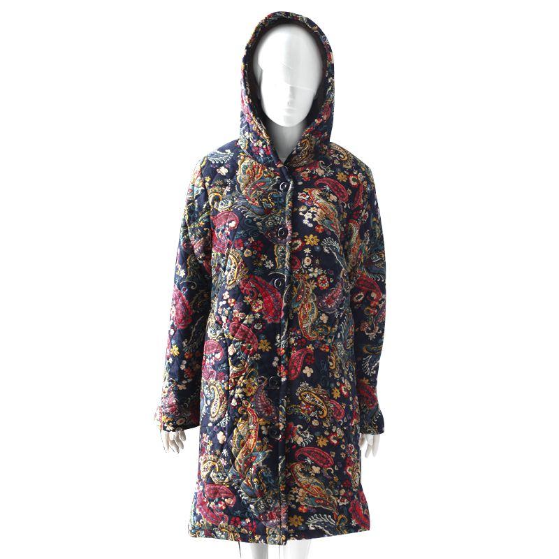 Áo khoác nữ chần bông dáng dài in hoa SMT