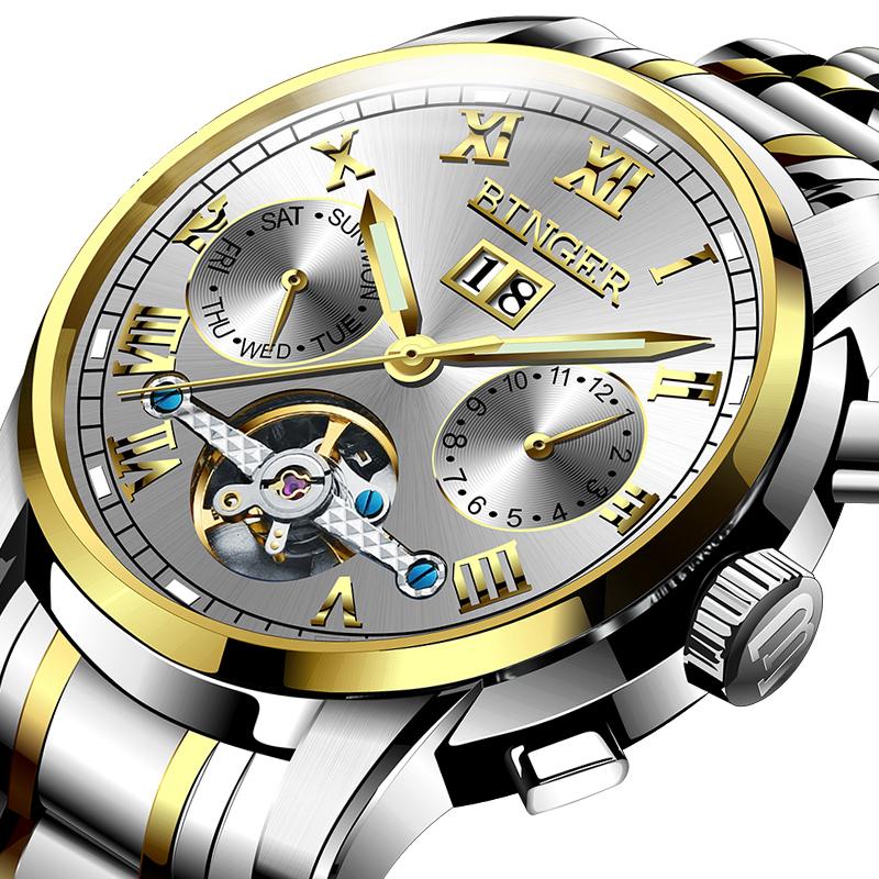 Đồng hồ cơ Skeleton số La Mã Binger