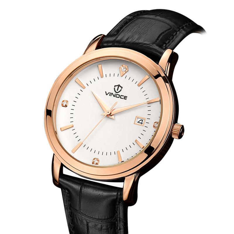 Đồng hồ nam dây da Vinoce 4 mốc giờ đính đá