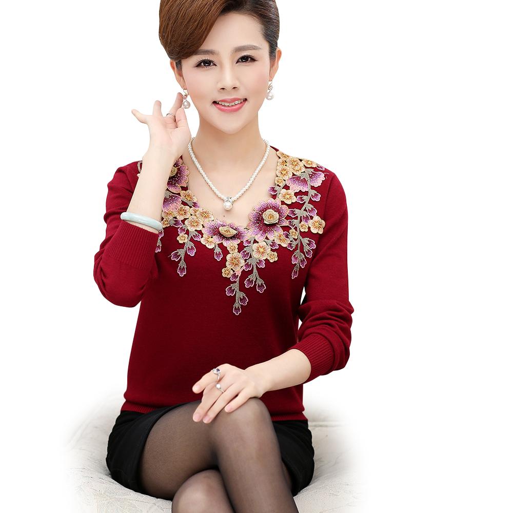 Áo len nữ trung niên đính hoa SMT