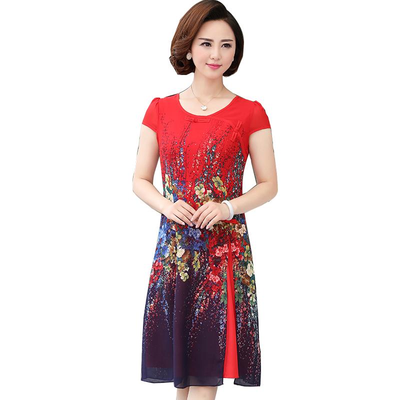Váy voan 2 lớp vạt xẻ lệch in hoa SMT