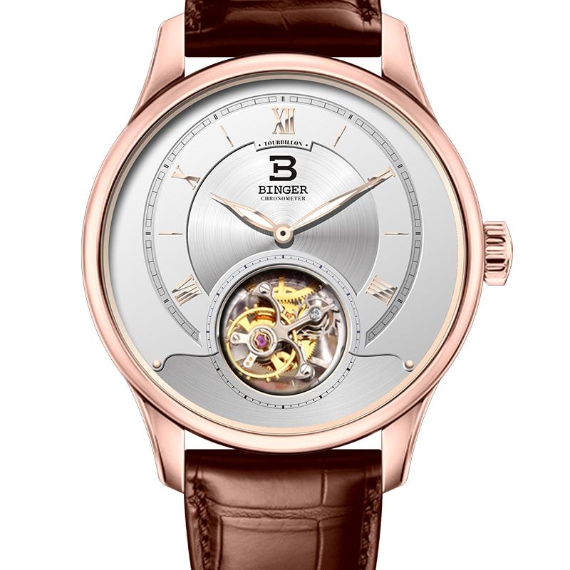 Đồng hồ cơ Open Heart số La Mã Binger