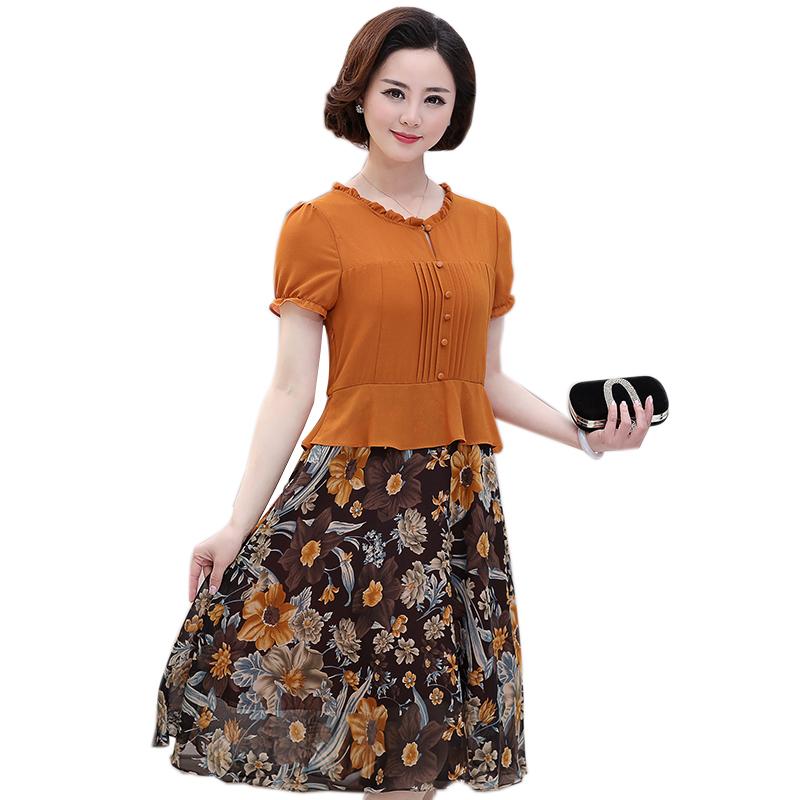 Váy xòe peplum phối màu cổ nhún bèo SMT