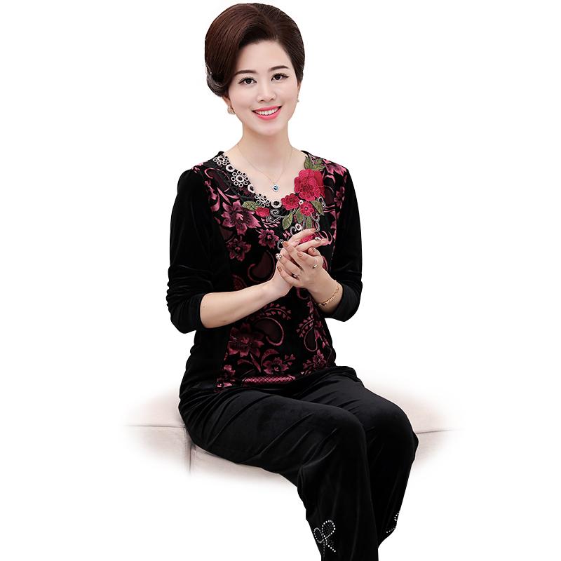 Bộ áo quần nữ trung niên dài tay thêu hoa lá SMT