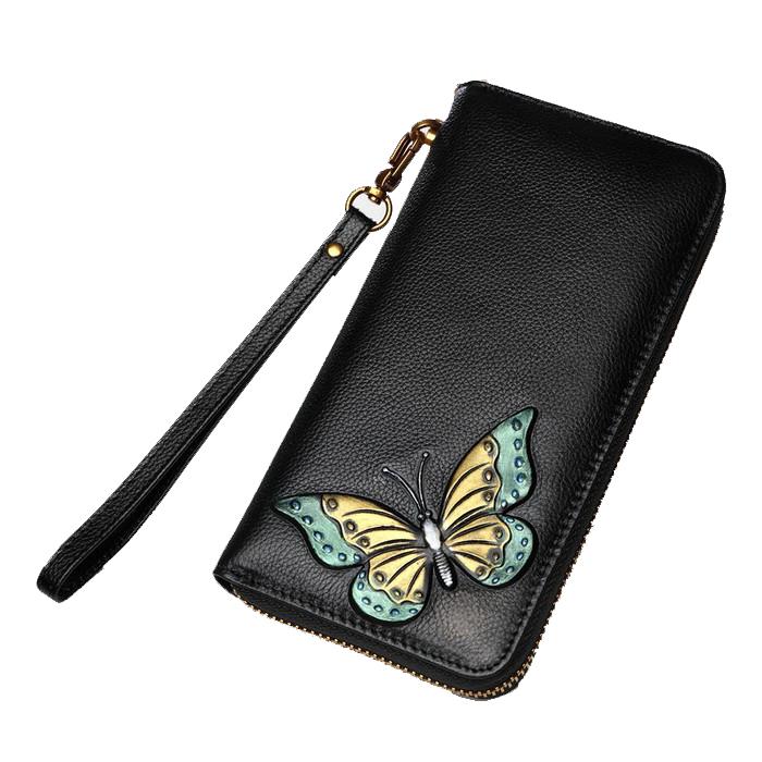 Ví da dài cầm tay dập nổi hoa bướm Mllecoco