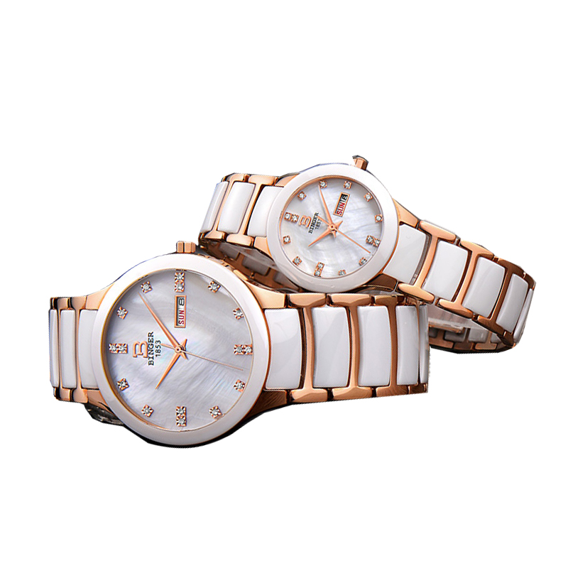 Đồng hồ đôi dây ceramic khảm trai Binger