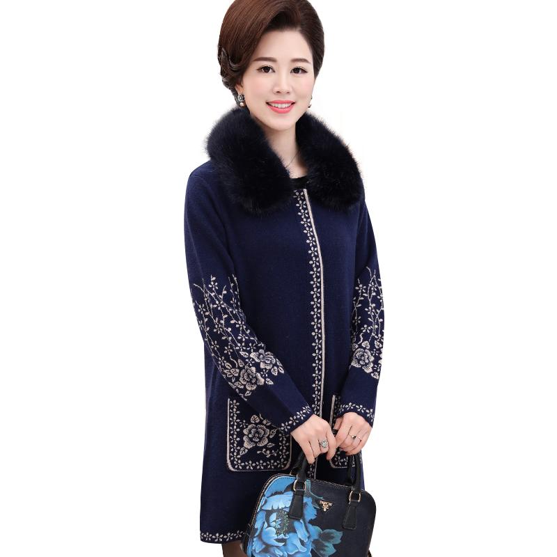 Áo khoác dạ dáng dài cổ lông hoa văn cổ điển SMT