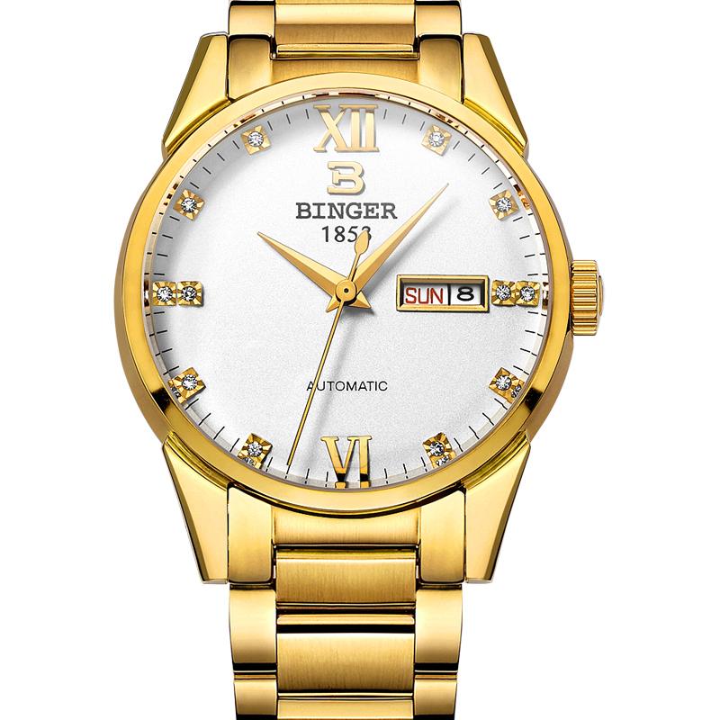 Đồng hồ cơ nam nạm đá quý phong cách Hoàng gia Binger