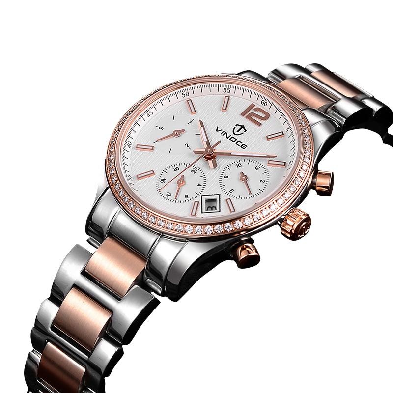 Đồng hồ nữ viền đính đá pha lê Vinoce