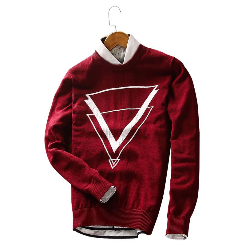 Áo len nam dài tay họa tiết hình học tam giác GF