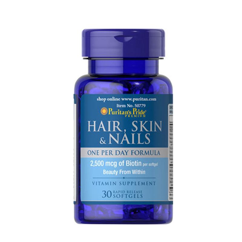 Viên uống bổ tóc, da, móng Puritan's Pride Hair, Skin & Nails 30 viên