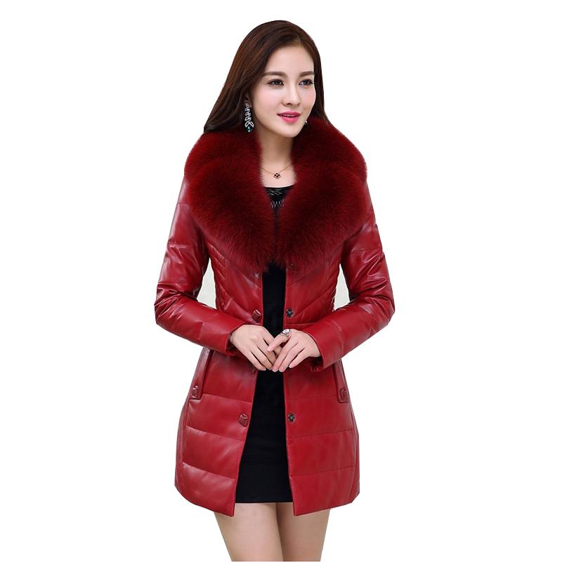 Áo khoác da cừu dáng dài cổ lông cáo